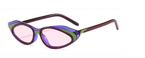 ZJMIYJ Sonnenbrillen Crystal Cat Eye Sonnenbrille Frauen Streifen Sonnenbrille Männer Frauen Brillen mit kleinem Rahmen grün rosa violett