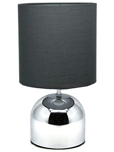 Bada Bing Lampe de table Cuivre Noir Touch Lampe sur pied avec abat-jour en d'env. cm Inox Silber