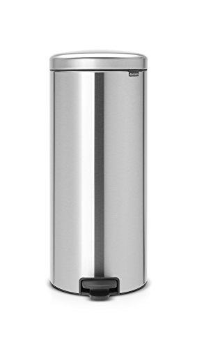 Brabantia 114380 Poubelle à Pédale Newicon avec Seau en Plastique, 30 L - Acier Mat