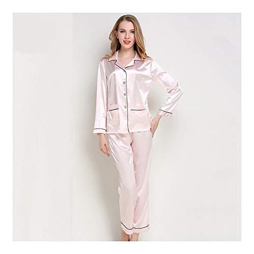 HAOLIEQUAN Frauen Pyjama Set Seide Nachtwäsche Tops + Cropped Hosen Nachthemden Nachtwäsche V-Ausschnitt Homewear Blau Kombination Pyjama Femme, Pink, L -