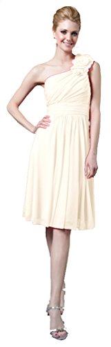 Cocktailkleid Abendkleid Elegant für Hochzeit Kurz Brautkleid Standesamt-Kleid One-Shoulder-Kleid...