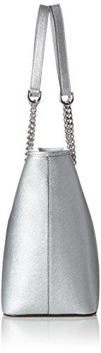Silver Michael Multifunctional Schultertasche Einheitsgröße Zip Jet Top Kors Damen Travel Silber Set Chain 7qx7OrHZ