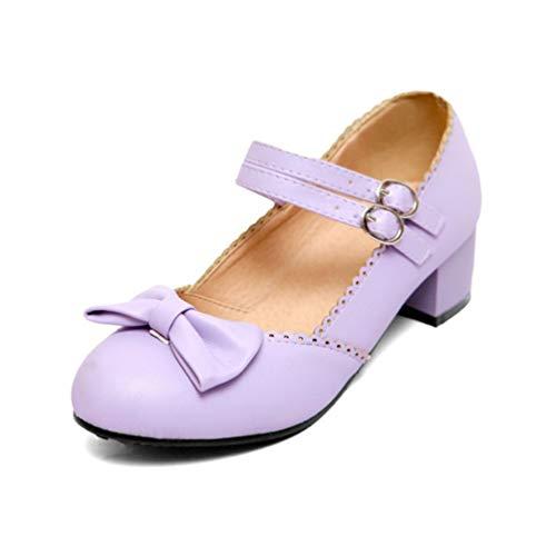 Mary Jane Schuhe für Frauen Heels Bow Knot Chunky Heel Party Hochzeit Casual Pumps Court Shoes