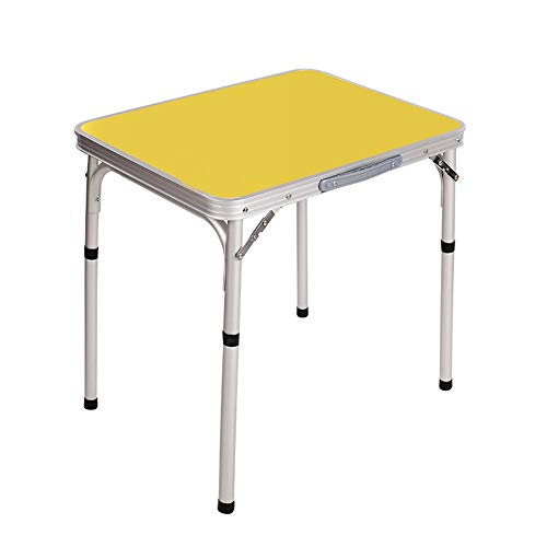 ZXQZ zhuozi Table Pliante, Table Pliante Portative, Bureau D'ordinateur, Adapté Au Camping Extérieur avec Table De Barbecue (Blanc/Jaune/Rose) 60 * 45 * 58.5cm / 23.6\