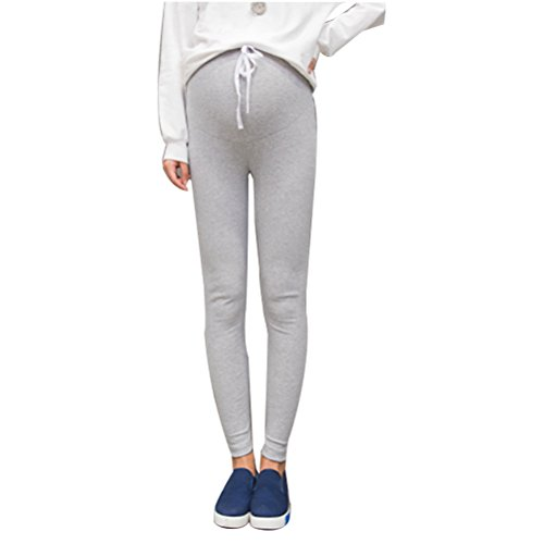 Zhhlinyuan Maternité Pregnant Women Casual Slim Legging High Waist Stretch Pencil Pants Pregnancy Trousers Light Gray