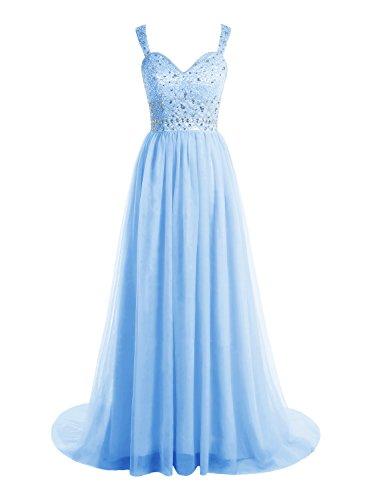 Bbonlinedress Robe de cérémonie Robe de bal emperlée en tulle avec traîne Bleu