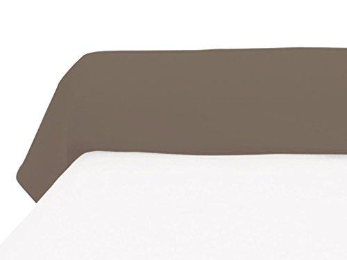 Soleil d'Ocre 560829 Taie de Traversin 57 Fils Coton Uni Taupe/Ecru 185 x 40 cm
