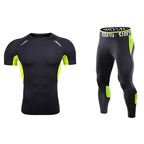 QJKai Sportanzug Herren, elastisches, schnell trocknendes Sport-T-Shirt + Kompressionshose zweiteiliges Fitnesstraining Laufen Trainingsbekleidung Sommer