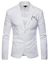 Kasen Herren Jacke Anzug Einfarbig Sakko Button Slim Fit Lange Ärmel Revers Blazer Mantel Weiß 3XL
