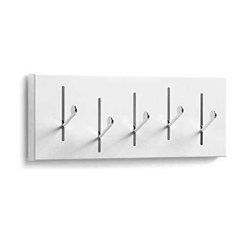 Kave Home - Perchero Rectangular Blanco con 5 Perchas Plegables de Acero
