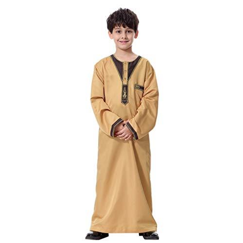 Uomo Thobe manica lunga Vitello da Indossare Musulmani Arabi Ragazze Musulmane Abaya Abito 2019 Costume sceicco con camice lungo Caftano Arabo Bambini Islamico Abaya Robe