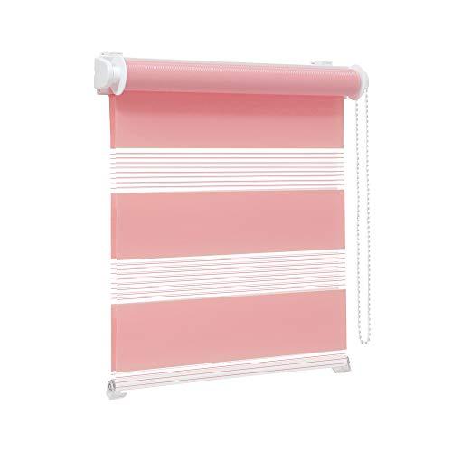 Victoria M. Zevra Estor Doble Enrollable - Estor día y Noche translúcido, 120 x 160 cm, Rosa