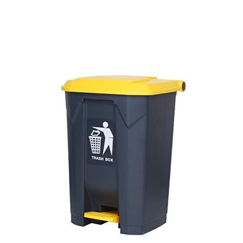 Garbage tribe Verdickter medizinischer Pedal-Abfalleimer-kommerzielle große Fuß-Art mit Abdeckungs-äußerem Stangen-Hotel-Küchen-Abfall, der Kasten Sortiert (Color : Yellow, Size : 68L)
