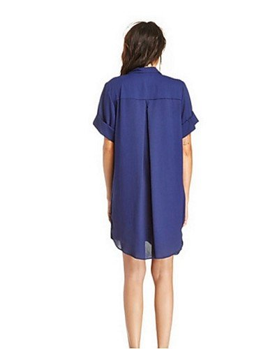 PU&PU Robe Aux femmes Ample Street Chic,Couleur Pleine Col en V Mini Polyester BLUE-S