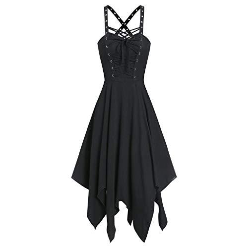 Damen Kleid Gothic Vintage Casual Kleid Piebo Frauen Ärmelloses Schnürung Rückenfrei Swing Kleid Cocktailkleid Karneval Kostüm Cosplay Party Minikleid mit Ledergürtel Reißverschluss (XL, A-Schwarz)