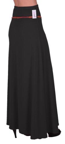 EyeCatch - Romina Aux Femmes Gitan Longue Jersey Dames Belted Maxi Robe Évasée Jupe Noir