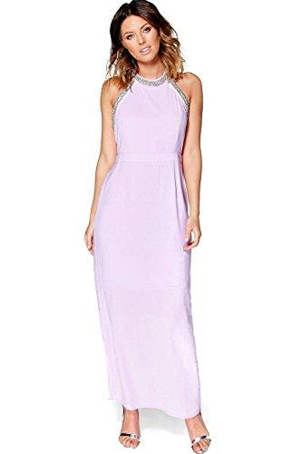 Violet Hommes Boutique Mei Embellished Halterneck Maxi Robe Violet