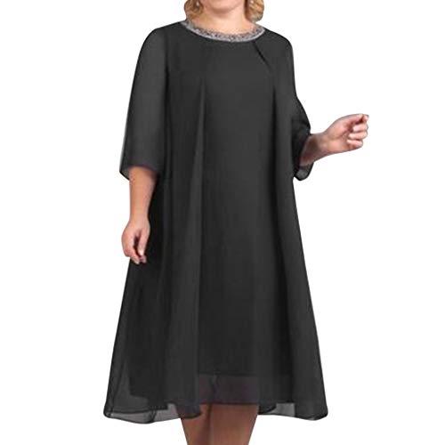leider Einfarbig Einfach Bequem Freizeit Kleider Partykleid Lose Kurzarm Tunika Blusenkleider Chiffon Casual Übergröße Frauenkleid(Schwarz,EU-38/CN-L) ()