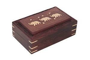 Fabriqué à la main en bois boîte à bijoux avec incrustation de laiton unique éléphant indien Design 20,3 x 12,7 cm