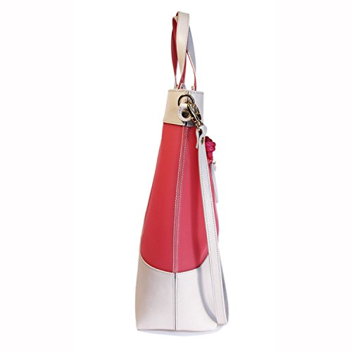Gattabuia - borsa Federica in pelle e pvc Perla-Ibisco