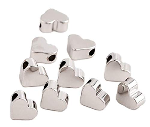 Sadingo Herzperlen Silber Metall-Perlen für Armbänder selber Machen, basteln (7 x 6 mm, 100 Stück), Anhänger Beads Herz