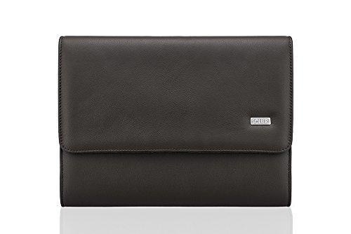Solier cuoio genuino Organizzatore notebook 13 cartelle conferenza portafoglio valigetta ventiquattrore OBAN SA01 Marrone