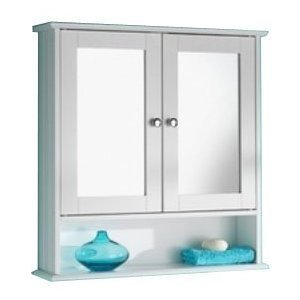 New England White Wood Double Mirrored Bathroom Wall Cabinet by Ultimate