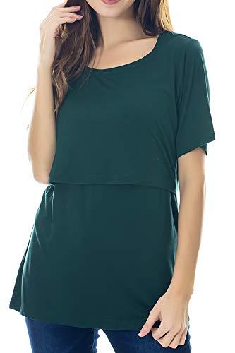 Smallshow Stillshirt Umstandstop T-Shirt Umstandsmode Umstandsshirt Schwangerschaft Kleidung Mutterschafts Kurzarm Shirt, Dunkelgrün, M