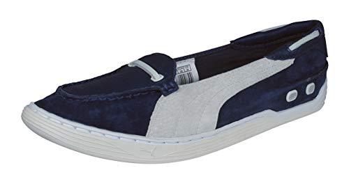 Puma Decker Slip On Damen Suede Leder Bootsschuhe -Blue-37.5 (Puma Damen Schuhe Slip On)