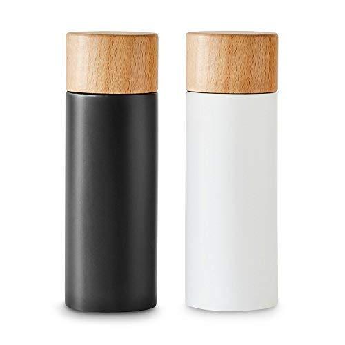 Salz- und Pfeffermühlen-Set 2 tlg, Gewürzmühle aus Birkenholz im Scandi-Design, Verstellbares Keramikmahlwerk, Grinder, Unbefüllt & Nachfüllbar - Schwarz/Weiß