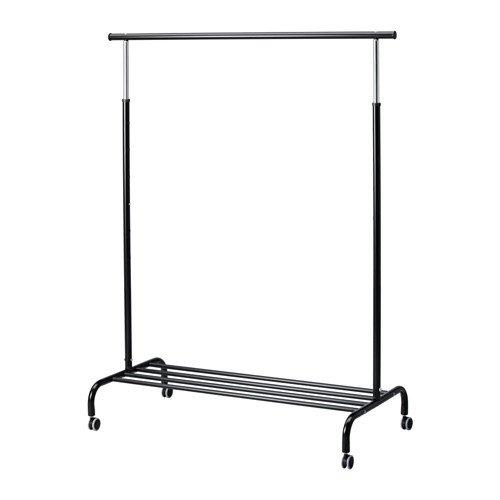 IKEA RIGGA verstellbar Kleiderstange mit Schuhregal, schwarz
