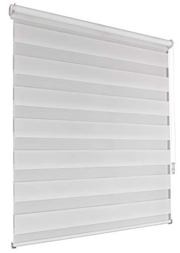 Doppelrollo 135x160cm weiß Klemmfix ohne Bohren Vario Seitenzug Duorollo Zebrarollo Fenster