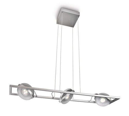 Philips Particon Lampada a Sospensione, Barra 3 Spot, Testa Circolare Regolabile, Alluminio