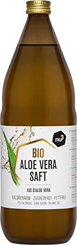 nu3 Bio Aloe Vera Saft - 1L in Glasflasche - Pflanzensaft aus den inneren Blattfilets aus biologischem Anbau - Unverdünnt & Vegan - per Hand verarbeitet - kalorienarm - frei von Konservierungsstoffen
