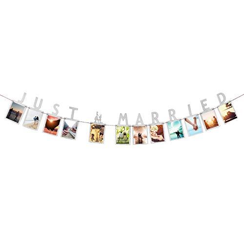 Oblique Unique® Just Married Foto Girlande Banner mit Brautpaar in Silber Hänge Deko für Hochzeit Hochzeitsdeko