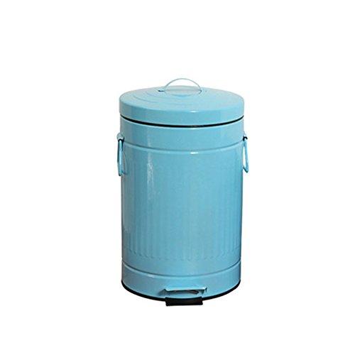 LJT Pedal Bin europäischen Stil American Retro Vier Farben Dicker Eisen Pedal Küche Badezimmer Wohnzimmer Mülleimer ( Kapazität : 5l , Farbe : Blau )
