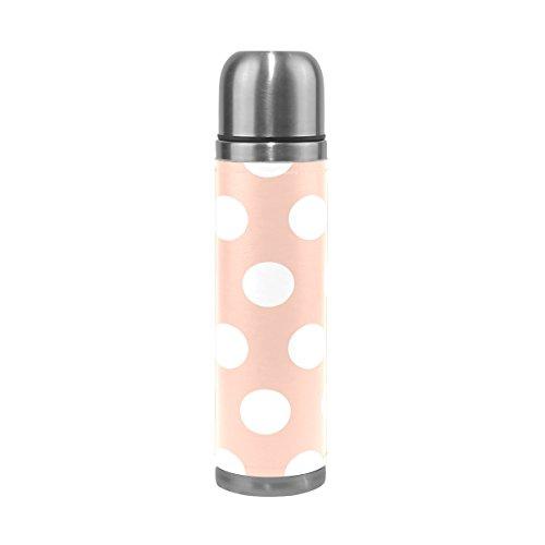 TIZORAX Taza de Vacío de Doble Pared con Diseño de Lunares Blancos, Acero Inoxidable, Botella de Agua de Viaje, Taza de café de 473 ML