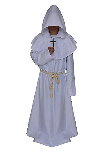 Mens Church High Priester Mönch Druide Kostüm Halloween Party Kleid Robe Umhang Weiß XL
