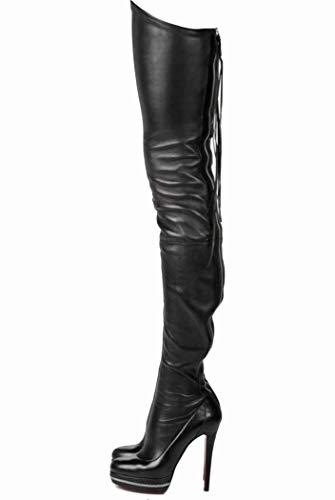 MISS&YG Schwarz Stretch High Heel Damen Stiefel Runden Kopf Über Das Knie Stiefel Nachtclub Sexy Zurück Reißverschluss Plattform Stiefel,Black,40 Print-stretch-heels