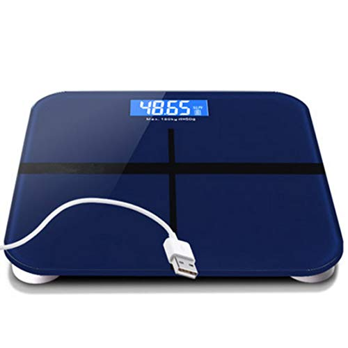 HiXB Digitale Personen Waage Personenwaage Hochpräzise Messungen 180kg Max. USB-Aufladung,Blue