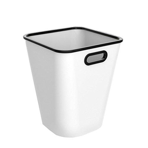 LF Stores Kreative mit Druck Kreis Kunststoff Mülleimer, Küche Badezimmer Wohnzimmer Schlafzimmer ohne Abdeckung Mülleimer Haushalt (Color : White) (Wicker White Mülltonne)
