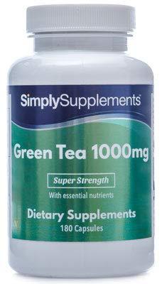 Té Verde 1000 mg - 2 frascos de 180 cápsulas - Hasta 4 meses de suministro - Favorece la pérdida de peso - SimplySupplements