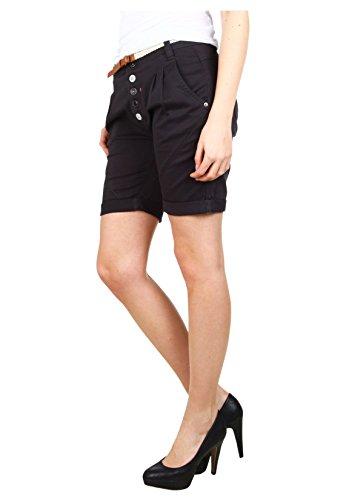 Sublevel Short chino pour dames avec ceinture   Bermuda   Short pour femmes dans des couleurs tendance gris foncé