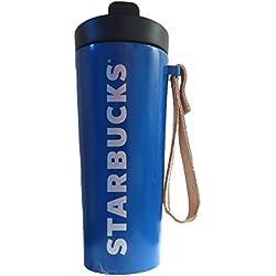 Starbucks vaso de acero inoxidable con mango de cuero-azul, 16Fl Oz