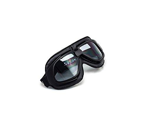 SOXON SG-300 Night Oldtimer Motorrad-Brille Vintage Ski-Brille Flieger-Brille Sport-Brille Scooter Vespa Goggles Pilot Cruiser Jet-Brille Biker Schutz-Brille, Leder Design, Schwarz/Klar, Einheitsgröße Motorrad Cruiser-brille