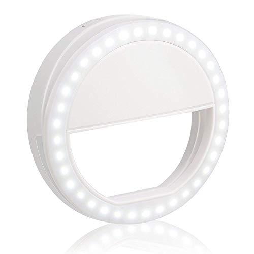 Selfie la luz del anillo,Luz de Brillo Recargable de 36 LED, Brillo Ajustable de 3 Niveles, Mejora de Iluminación Nocturna Suplementaria para Teléfonos Inteligentes, Blanco