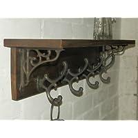 RusticWoodenCrafts Reclaimed wood Hat&Coat Rack shelf Cottage Vintage style wall brackets 7 hooks = 98cm