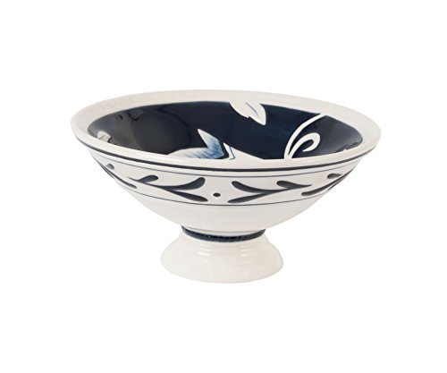 Bristol Collection, Footed Bowl, Royal Blue/White by Fitz and Floyd White-footed Bowl