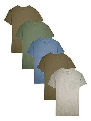 Fruit of the Loom Herren 5-Pack Assorted Pocket T-Shirt Unterhemd, Earth Tones, Groß (5er -