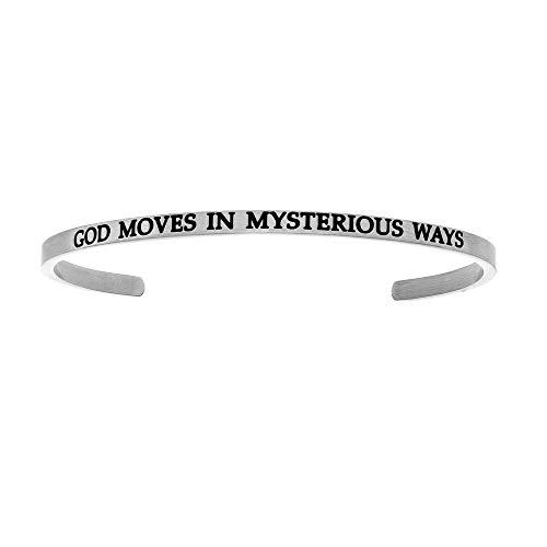 Edelstahl Gott Moves in Mysterious Ways mit 0,005ct. Diamant Armreif Armband